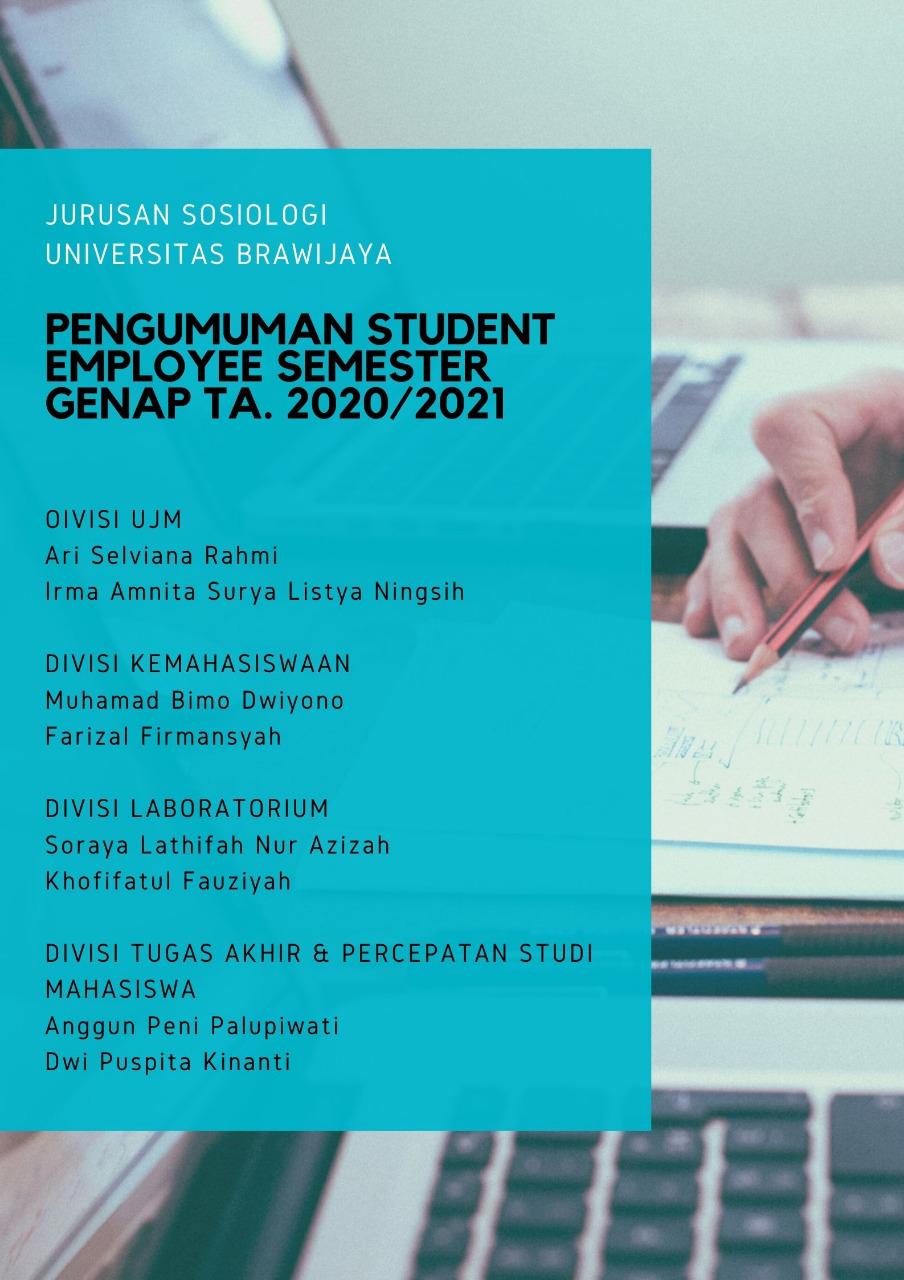 [Pengumuman] Student Employee Prodi S1 Sosiologi UB